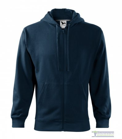 Men hooded zipper sweater navy