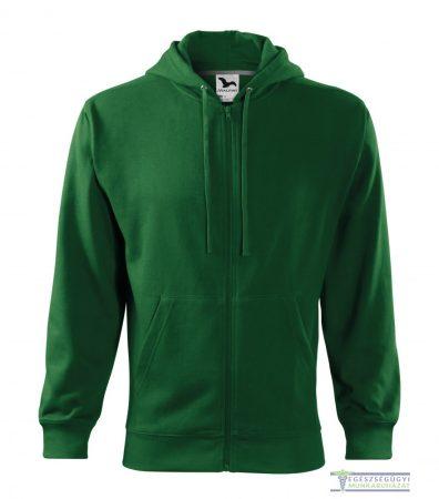 Men hooded zipper sweater bottle green