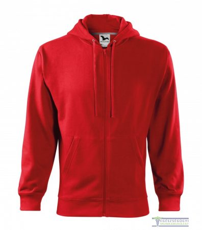 Men Hooded Zipper Sweater Red