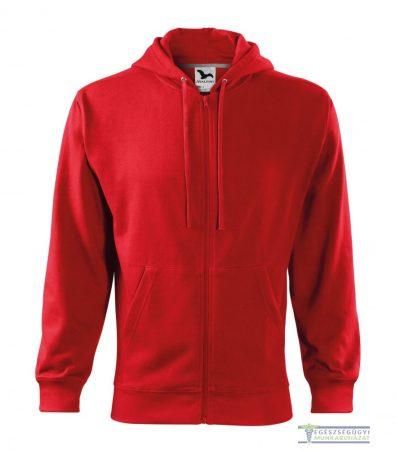 Kapucnis cipzáros férfi  pulóver piros