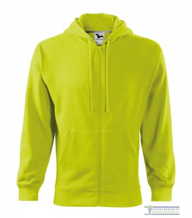 Men Hooded Zipper Sweater Lime