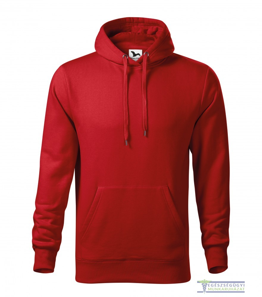 Kapucnis belebújós férfi pulóver piros