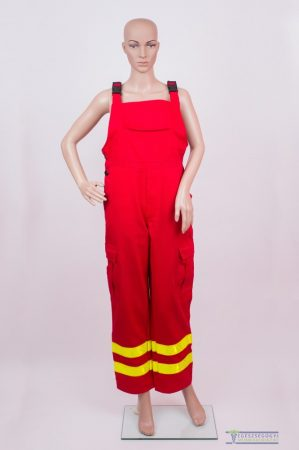 Red ambulance trouser with two yellow high visible reflective stripes