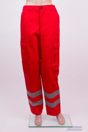 Red ambulance trouser with two grey high visible reflective stripes