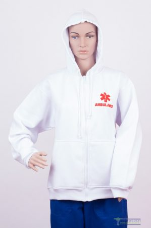 Men Hooded Zipper Sweater  white