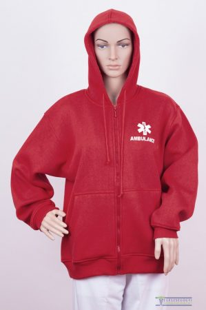 Men Hooded Zipper Sweater red