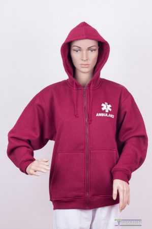 Men Hooded Zipper Sweater Claret