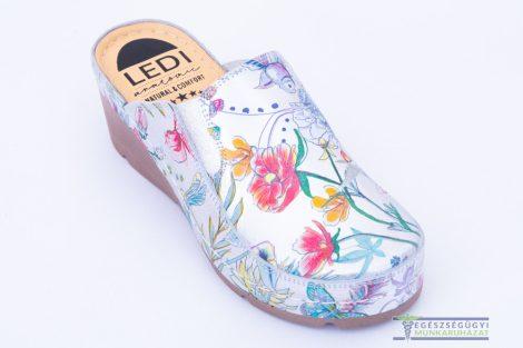 Női bőr klumpa ezüst virágmintás gumis lábfej