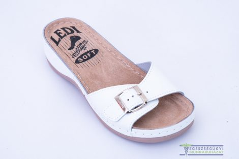 Women's leather slippers with white buckle