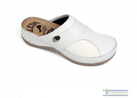 Women's anatomical hallux leather clog white